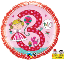 Age 3 Princess Polka Dot Foil Balloon By Rachel Ellen